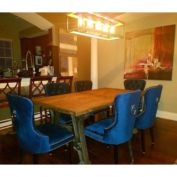 Pilo Blue Side Chairs Throughout Most Up To Date Shop Abbyson Versailles Blue Tufted Dining Chair – On Sale – Free (View 19 of 20)