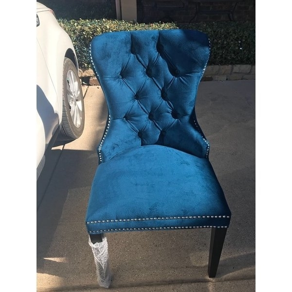 Pilo Blue Side Chairs Within Well Known Shop Abbyson Versailles Blue Tufted Dining Chair – On Sale – Free (View 15 of 20)