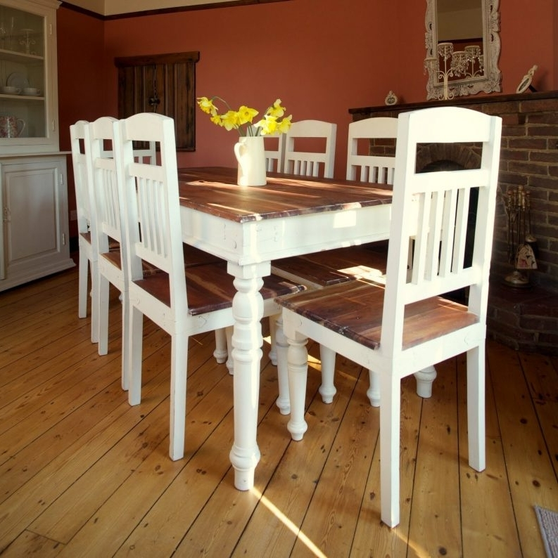 Pine Wood White Dining Chairs In Most Popular Shabby Chic Oval Dining Table Pine Laminate Flooring Fruit Glass (View 10 of 20)