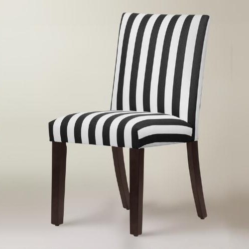 Pine Wood White Dining Chairs Inside Recent Black And White Stripe Dining Chair (View 12 of 20)