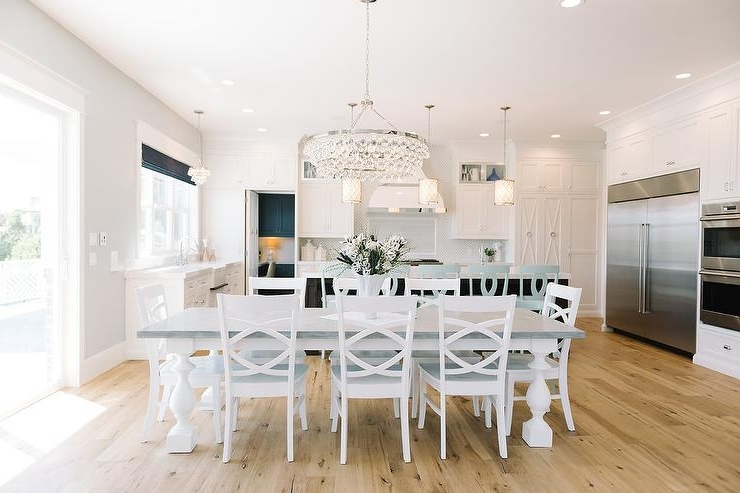Pine Wood White Dining Chairs Pertaining To Most Current White Dining Table With Gray Top And Turned Legs – Transitional (View 13 of 20)