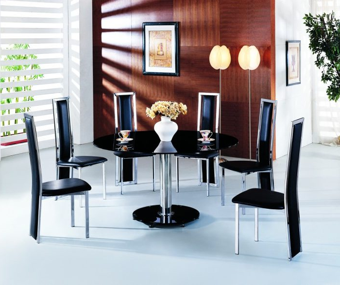 Planet Large Round Black Glass Dining Table With Amalia Chairs Intended For Current Round Black Glass Dining Tables And Chairs (View 14 of 20)