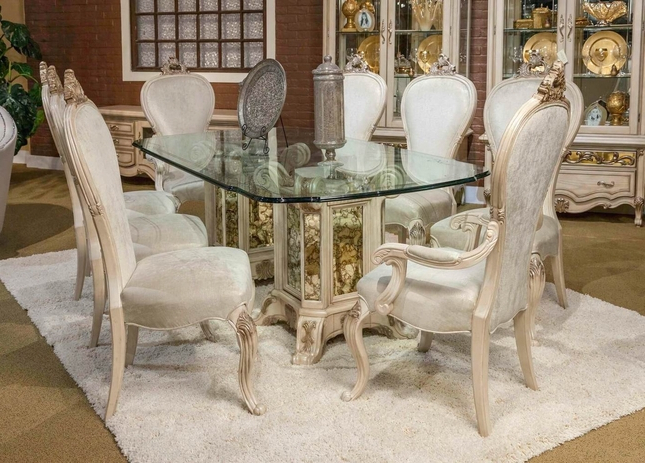 """Platine De Royal 5 Pc French Provincial 102"""" Glass Top Dining Table Set With Best And Newest Royal Dining Tables (View 14 of 20)"""
