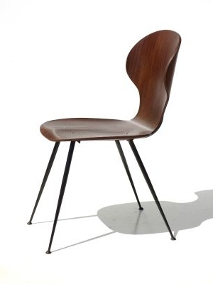 Plywood & Metal Brown Dining Chairs Intended For Trendy Mid Century Plywood & Metal Dining Chairscarlo Ratti For Lissoni (View 6 of 20)