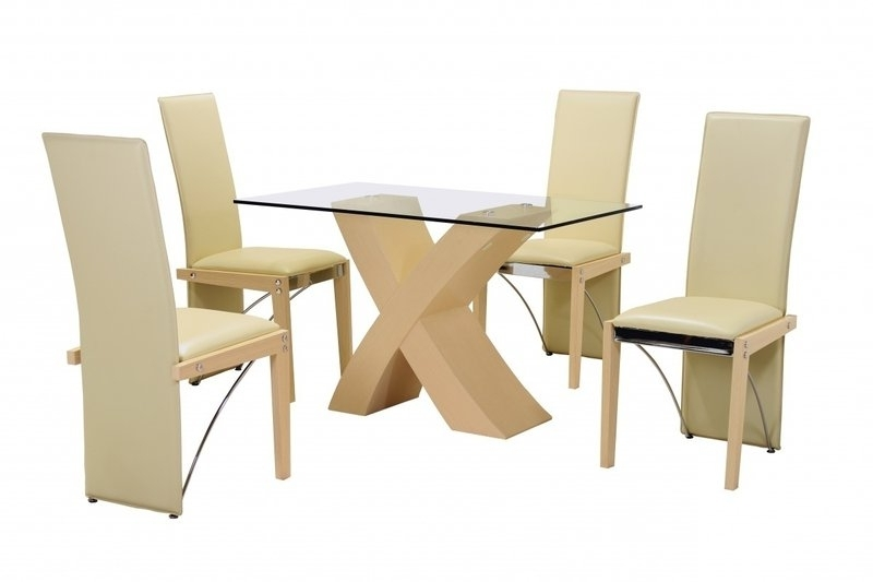 Popular Beech Small Clear Glass Dining Table And 4 Faux Cream Chairs Within Beech Dining Tables And Chairs (View 11 of 20)