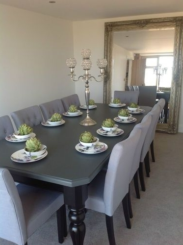 Popular Black 8 Seater Dining Tables For 8 10 Seater Large Dining Table, High Gloss Black + Painted Top,made (View 3 of 20)