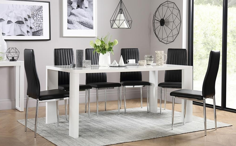 Popular Black Gloss Dining Room Furniture Throughout Eden 170Cm White High Gloss Dining Table With 4 Leon Black Only (View 15 of 20)