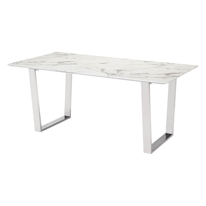 Popular Brushed Steel Dining Tables Within Atlas Modern Dining Table Stone & Brushed Stainless Steel (View 3 of 20)