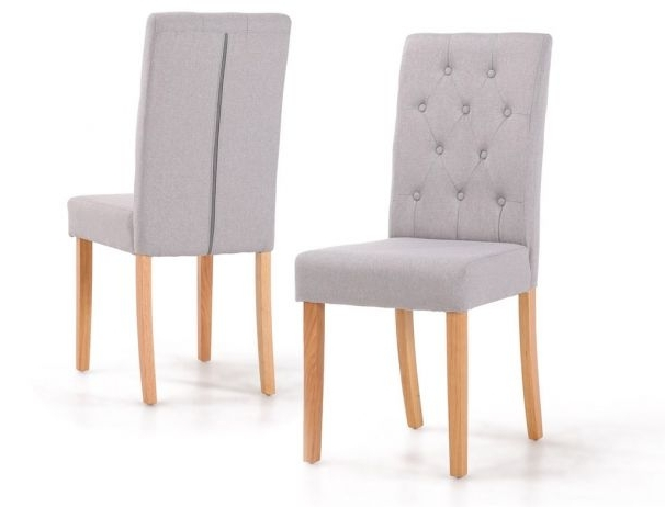 Popular Button Back Dining Chairs Intended For Finsbury Button Back Dining Chairs With Oak Wood Legs (View 14 of 20)