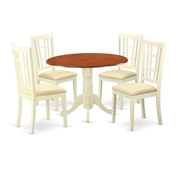 Popular Caden 5 Piece Round Dining Sets With Upholstered Side Chairs Inside Dlni5 Bmk 5 Pc Dinette Set For 4 Dining Table And 4 Dinette Chairs (View 17 of 20)