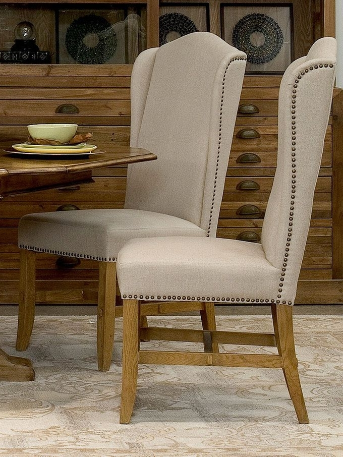 Popular Candice Ii 5 Piece Round Dining Sets With Slat Back Side Chairs Inside High Back Dining Chairs (set Of 2) From Living In Linen: Furniture (View 3 of 16)