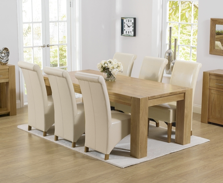Popular Chunky Solid Oak Dining Tables And 6 Chairs In Oak Dining Table And Black Leather Chairs Chunky Oak Dining Table (View 14 of 20)