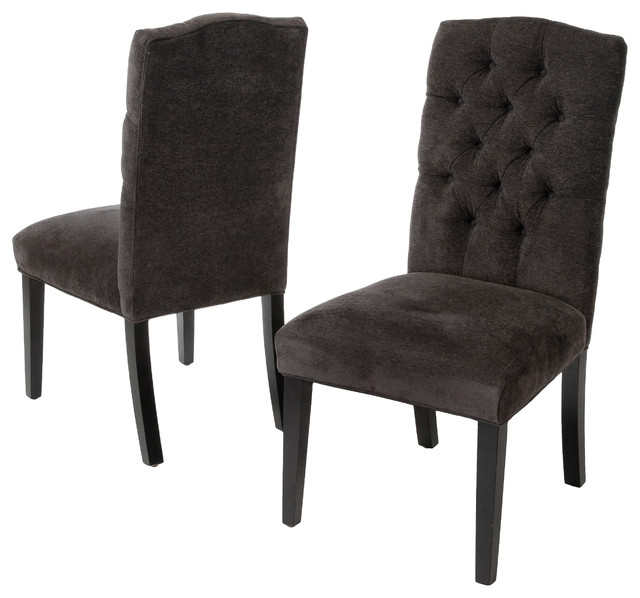 Popular Clark Tufted Back Dark Gray Fabric Dining Chairs, Set Of 2 Inside Fabric Covered Dining Chairs (View 16 of 20)