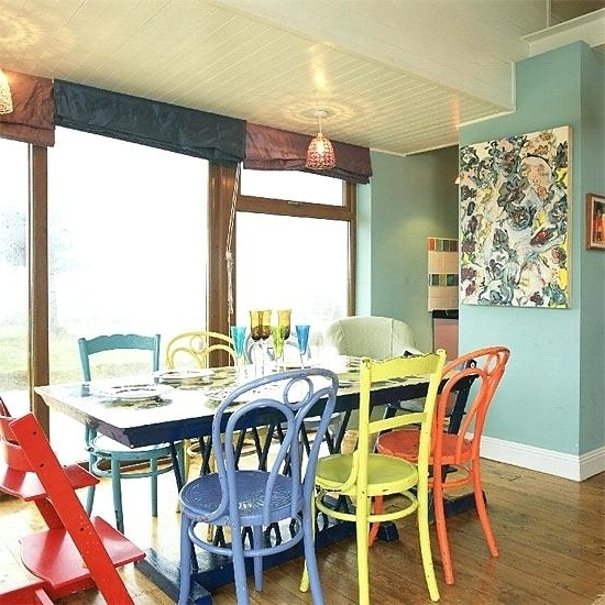 Popular Colorful Dining Room Sets Cream Painted Dining Room Chairs – Matras Throughout Colourful Dining Tables And Chairs (View 13 of 20)