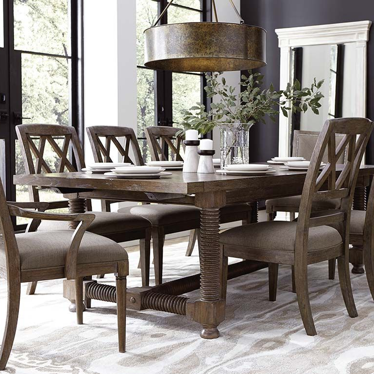 "Popular Compass 104"" Trestle Dining Table (View 16 of 20)"
