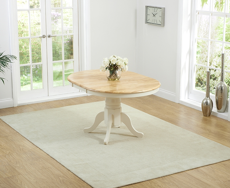 Popular Cream And Wood Dining Tables For Buy Mark Harris Elstree Oak And Cream Round Dining Table Butterfly (View 13 of 20)