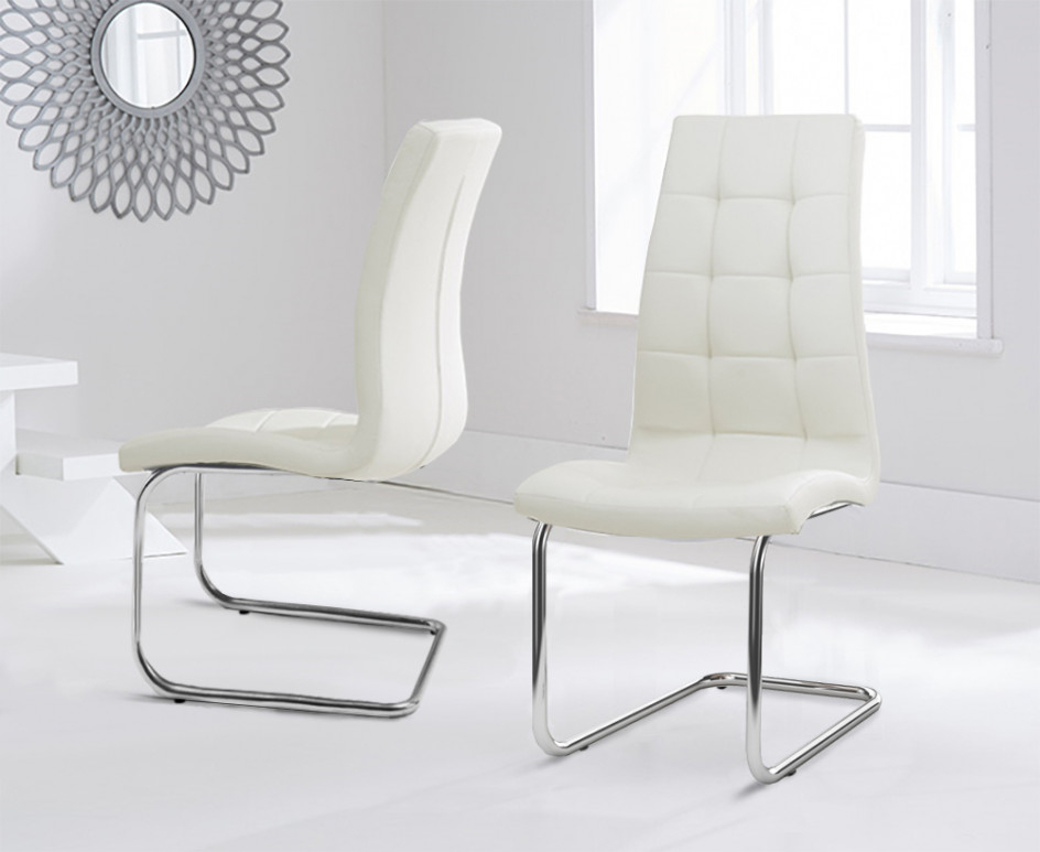 Popular Cream Faux Leather Dining Chairs Inside Lorin Cream Faux Leather Hoop Leg Dining Chairs (View 8 of 20)