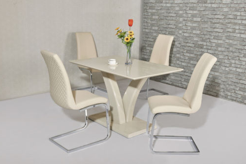Popular Cream High Gloss Dining Tables With Cream High Gloss Dining Table And 4 Cream Chairs (View 6 of 20)