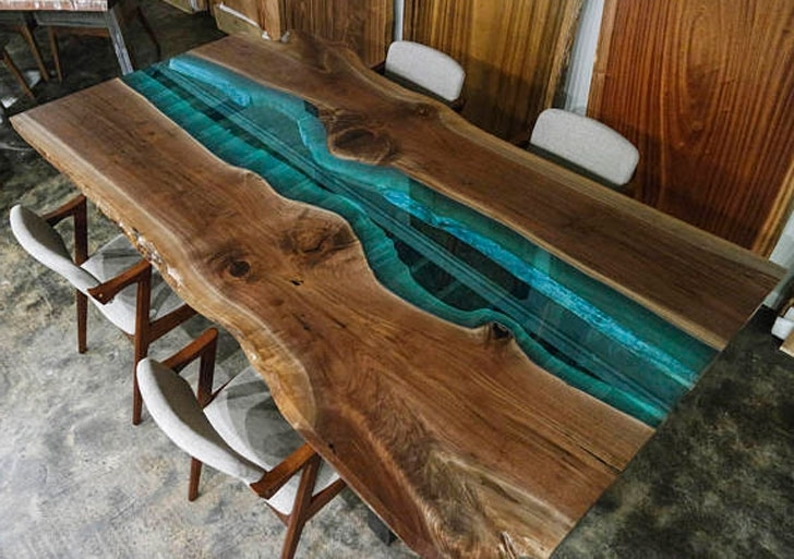 Popular Custom Made Rustic Walnut And Blue Glass Dining Tables – Awesome In Blue Glass Dining Tables (View 3 of 20)