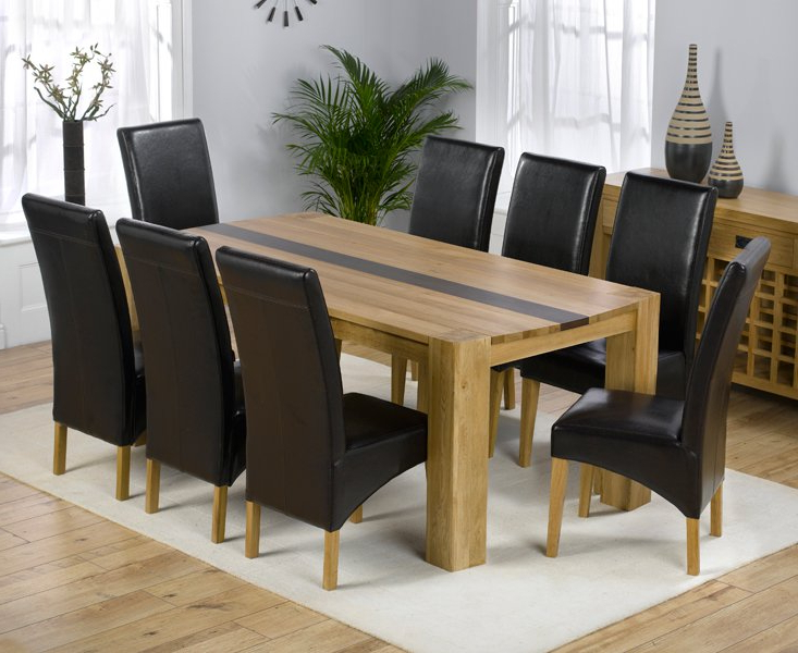 Popular Dining Tables 8 Chairs Set For Beatrice Oak Dining Table With Walnut Strip And 8 Leather (View 16 of 20)