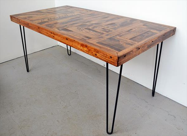 Popular Diy Pallet Wood Dining Table With Steel Legs – Throughout Dining Tables With Metal Legs Wood Top (View 8 of 20)