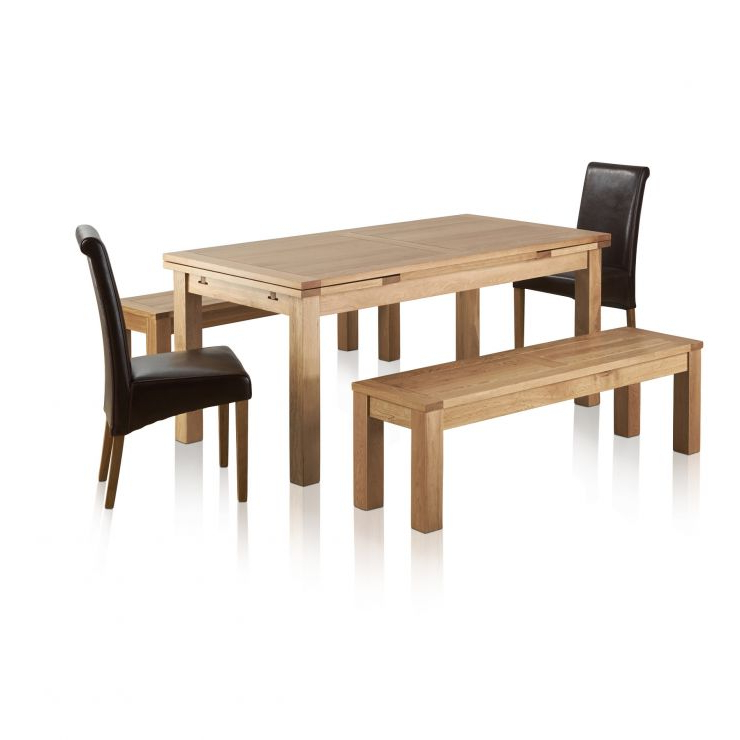 Popular Dorset Dining Set In Oak: Dining Table + 2 Benches & 2 Chairs Inside Dining Tables And 2 Benches (Gallery 19 of 20)