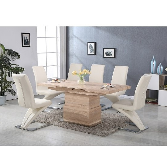 Popular Elgin Convertible And Extendable Dining Table With 6 Demi Regarding Cheap Extendable Dining Tables (View 13 of 20)