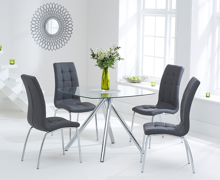 Popular Elva 100cm Glass Dining Table With Calgary Chairs Regarding Glass Dining Tables Sets (View 3 of 20)