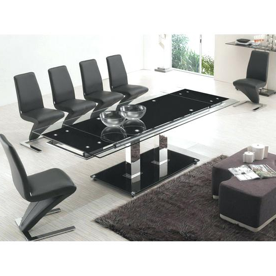 Popular Extending Glass Dining Table And 8 Chairs Aboutyou Space Pertaining Regarding Extending Glass Dining Tables And 8 Chairs (View 14 of 20)