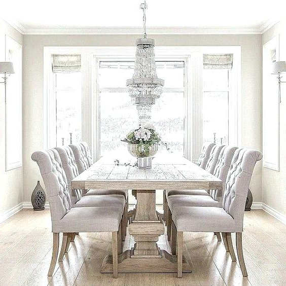 Popular Formal Dining Room With Reclaimed Oak Table White Furniture Chairs Pertaining To Dining Room Tables And Chairs (View 20 of 20)