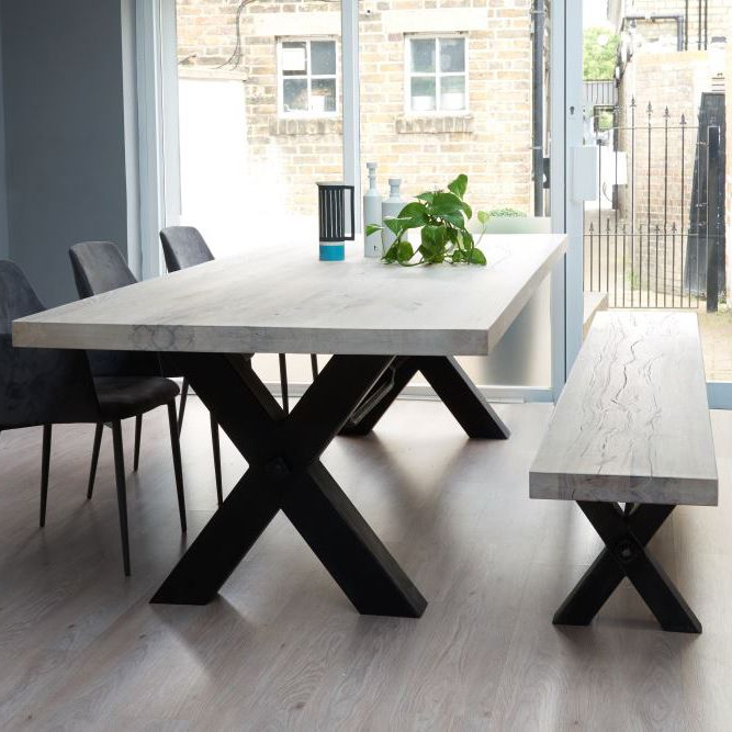 Popular From Stock: Rustik Wood & Metal Dining Table, Cross Frame Leg In Within Wooden Dining Sets (Gallery 12 of 20)