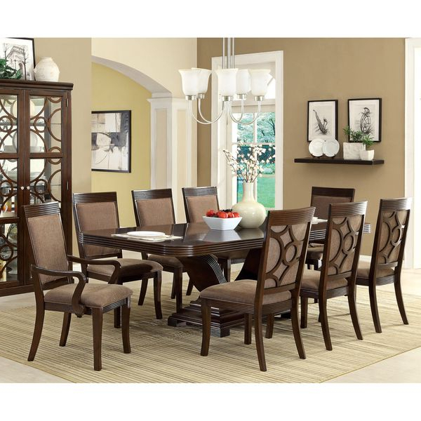 Popular Furniture Of America Woodburly 9 Piece Dining Set With Leaf For Craftsman 7 Piece Rectangular Extension Dining Sets With Arm & Uph Side Chairs (View 16 of 20)