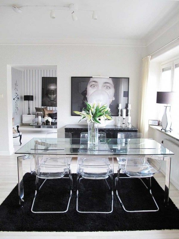 Popular Glass Dining Table And Acrylic Chairs With Black & White Design For White Glass Dining Tables And Chairs (View 12 of 20)