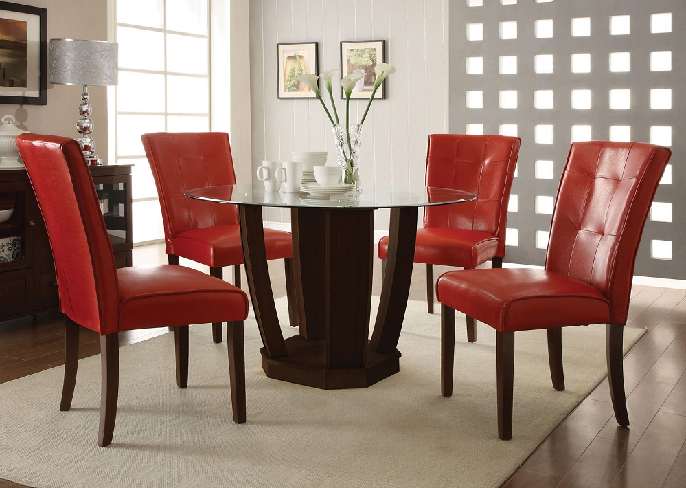 Popular Glass Dining Tables And Leather Chairs Regarding Spectacular Design Glass Table And Leather Chairs Red Dining Ideas (Gallery 13 of 20)
