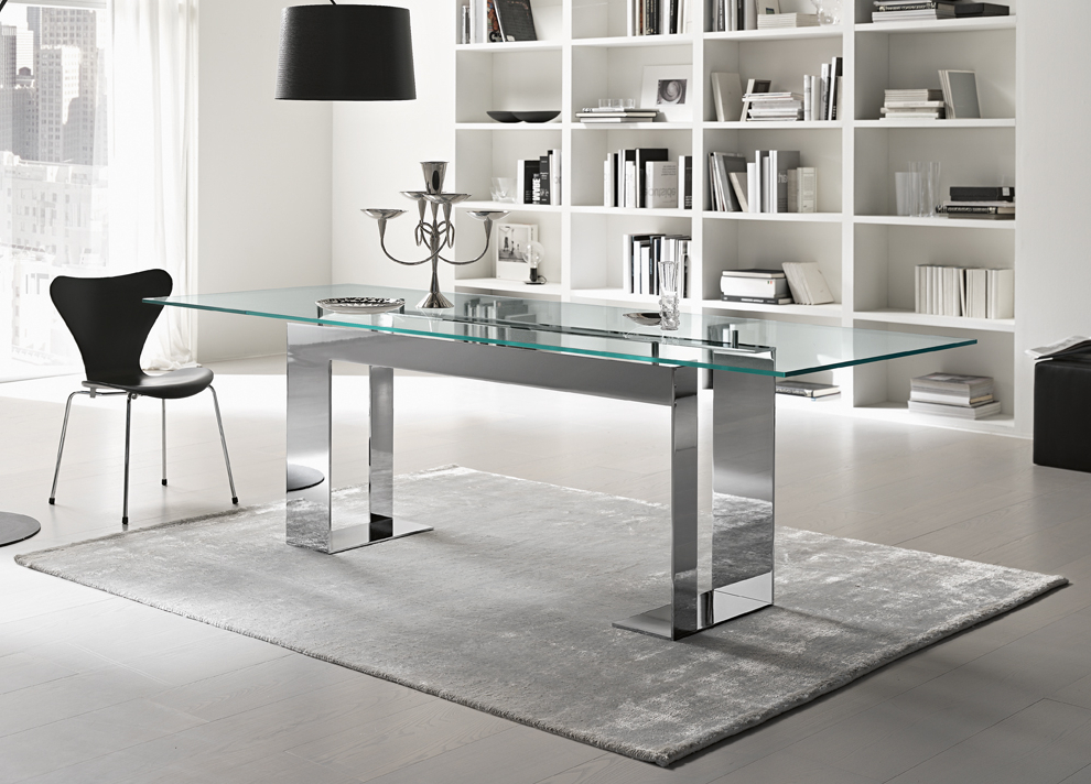 Popular Glasses Dining Tables For Tonelli Miles Glass & Chrome Dining Table (View 15 of 20)