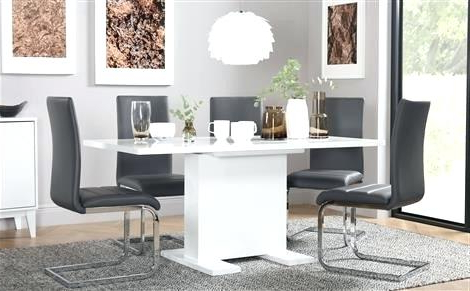 Popular Gloss White Dining Tables In White Gloss Dining Set High Gloss Furniture White High Gloss Dining (View 16 of 20)