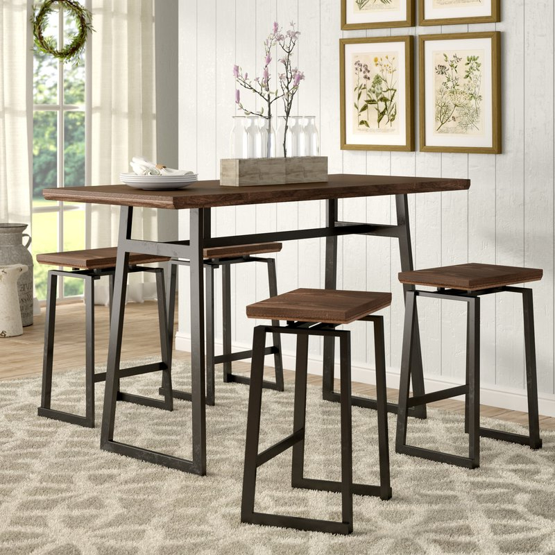 Popular Gracie Oaks Platane Industrial 5 Piece Counter Height Dining Set With Jaxon 5 Piece Extension Counter Sets With Wood Stools (View 3 of 20)