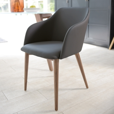 Popular Grey Dining Chairs For Dip Dining Chair Grey – Dwell (View 2 of 20)