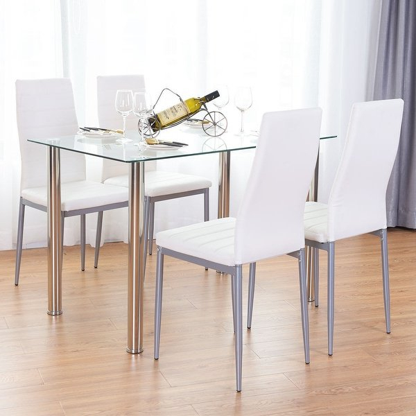 Popular Harper 5 Piece Counter Sets With Regard To Shop Costway 5 Piece Dining Set Table And 4 Chairs Glass Metal (View 13 of 20)