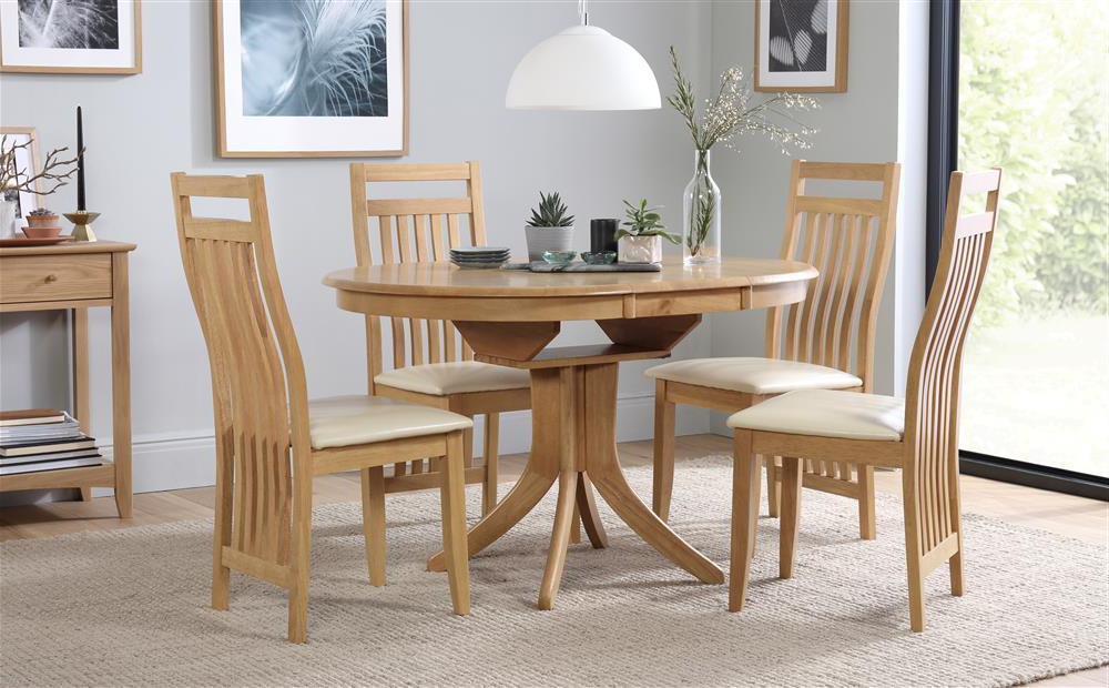 Popular Hudson & Bali Round Extending Oak Dining Table And 4 6 Chairs Set Regarding Extending Oak Dining Tables And Chairs (View 9 of 20)