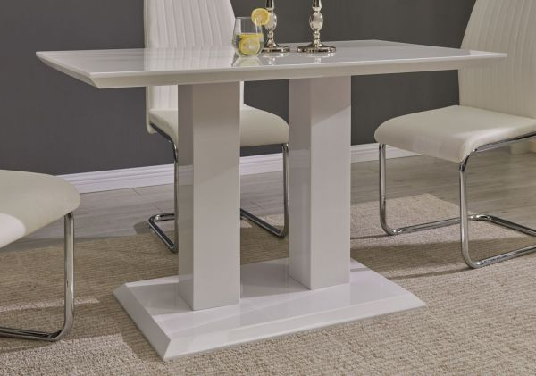 Popular Imperia Modern White High Gloss Dining Table And 4 Lorenzo Chrome Inside White High Gloss Dining Chairs (View 12 of 20)