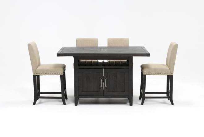 Featured Photo of Jaxon Grey 5 Piece Extension Counter Sets With Fabric Stools