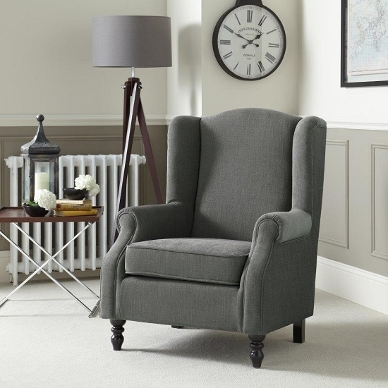 Popular Jaxon Sofa Chair In Grey Fabric With Wooden Legs 27746 Inside Jaxon Wood Side Chairs (View 16 of 20)