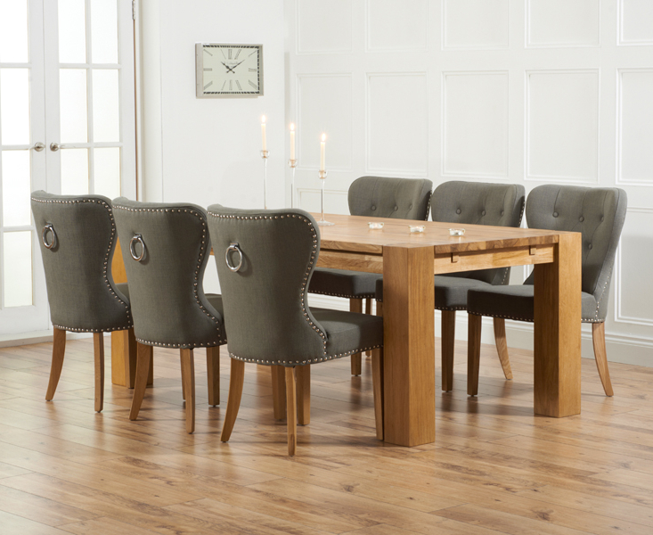 Popular Madrid 200Cm Solid Oak Dining Table With Knightsbridge Chairs Pertaining To Dining Tables And Fabric Chairs (View 16 of 20)