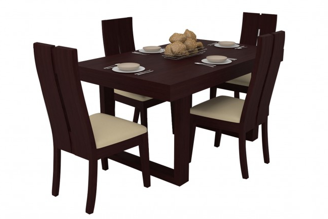 Popular Mahogany Dining Tables And 4 Chairs With Avila Mahogany Dining Table Set 4 Seater (teak Wood) – Adona Adona Woods (View 11 of 20)