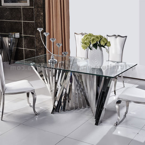Popular Mirror Glass Dining Tables Inside China 2018 Modern Latest Mirror Glass Top Dining Table With Metal (View 10 of 20)