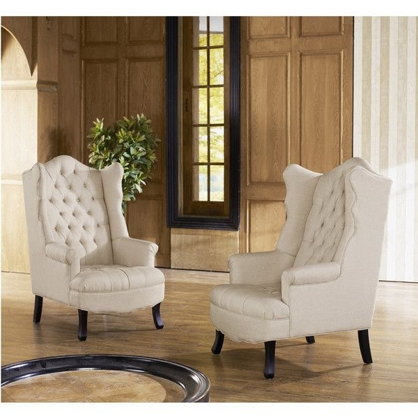 Popular Norwood Upholstered Side Chairs Inside Baxton Studio Norwood Beige Fabric Upholstered Wing Back Accent (View 17 of 20)