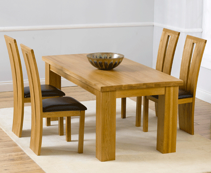 Popular Oak Dining Tables And 4 Chairs With Regard To Oak Dining Table & Chairs – Oak Dining Room Set – Oak Dining Room (View 10 of 20)