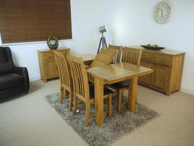 Popular Oakland Oak 1200 Extending Dining Table & 4 Chairs – Table And 4 With Regard To Extending Dining Tables And 4 Chairs (View 15 of 20)