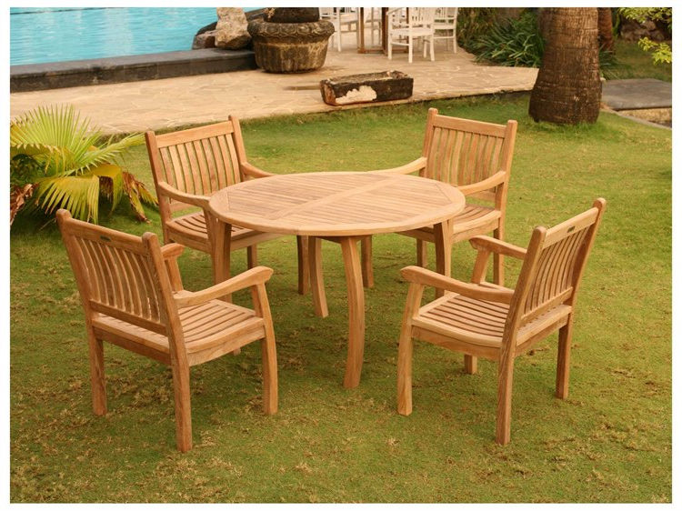 Popular Outdoor Tortuga Dining Tables With Regard To Tortuga Outdoor Jakarta Teak 5Pc Dining Set (Teak 48 Dining Table (View 12 of 20)